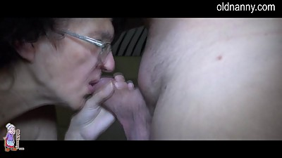 Old granny and young man blowjob