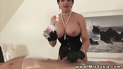 Big titted sexy mature in stockings..