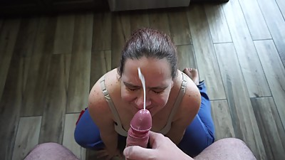 POV Blowjob and Facial Slut Wife..