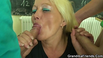 Threesome with very old teacher and..