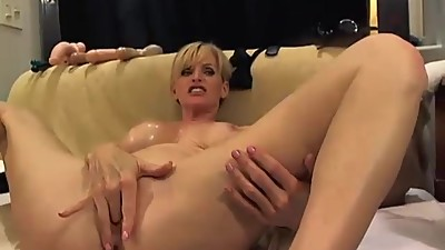 blonde milf anal toy swallow