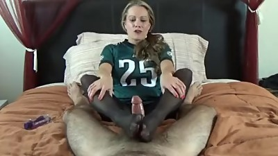She lost a bet, has to give a footjob