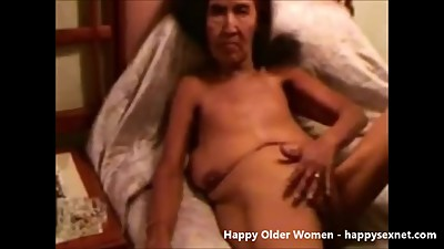 Ugly granny smoking and fingering pussy