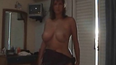 Shaved blonde and busty MILF