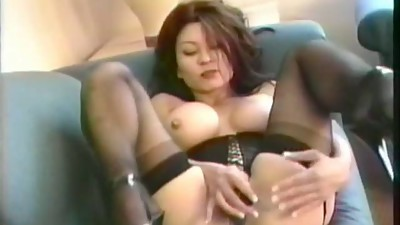 Asian mature in lingerie corset..