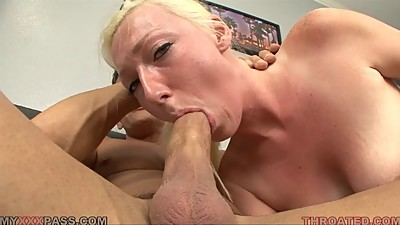 Tegan Riley deep throats a cock for..