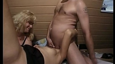 German MILF helps a couple during..