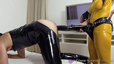Mistress Angelina strapon fucks sub..
