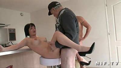 Busty french mom banged and jizzed in..
