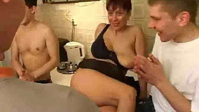 Russian MILF orgy home Pleasing Crowd..