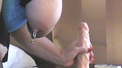Dutch mature with big dildo