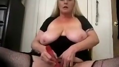Blonde Mature Chubby plays with vibe..