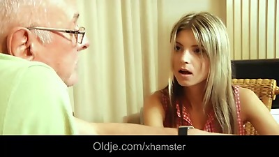 Materialist young blonde fucks grandpa..