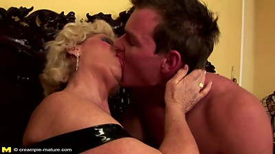 Grandma creampied into hairy pussy by..