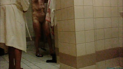 Sauna. Old women show ass and titts.