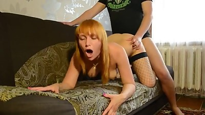 Man fuck Russian MILF in fishnet..