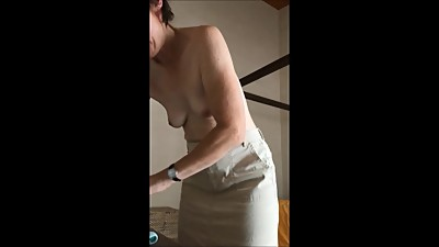 Conservative petite milf strips..