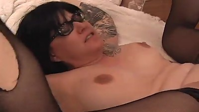 Tattooed Chubby MILF Cum on Glasses