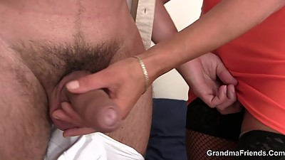 Hot threesome with sexy grandma in..