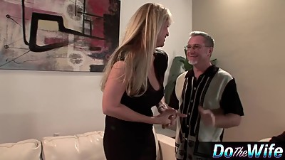 Blonde MILF fucks in front of her..