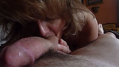Milf bathing my cock with her warm,..