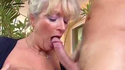 Busty Granny Takes Young Dick