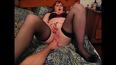 Red Head uses Vibrator & Fingered