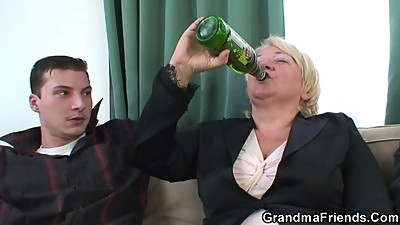 Boozed blonde granma is double fucked