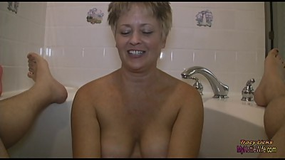 Tracy Licks....Gives Soapy Handjob in..